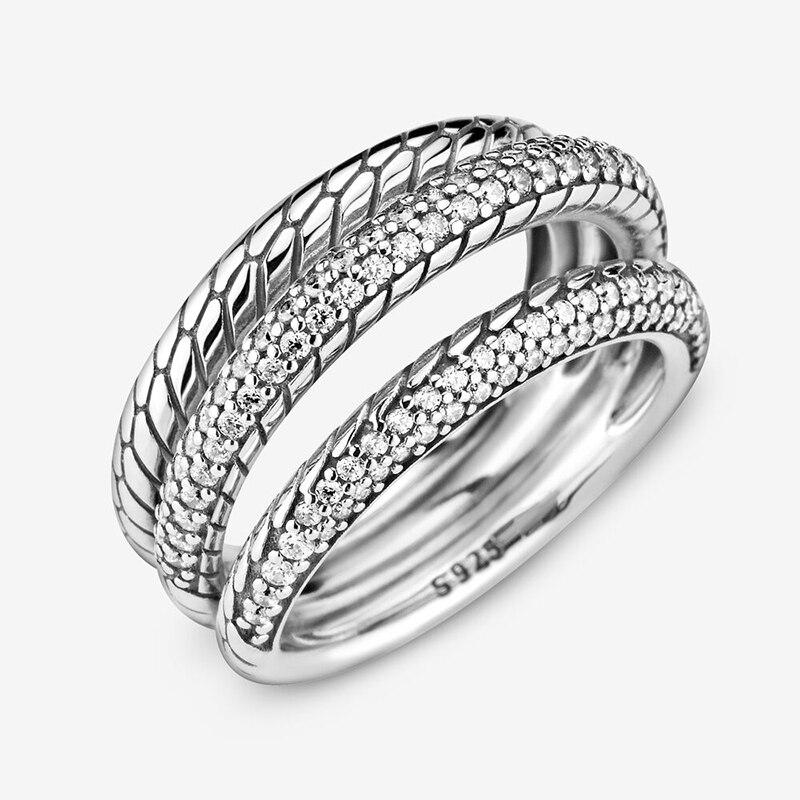 Bague d'automne pour femmes, en argent Sterling 925, Triple bande, Pavé, motif serpent, marque originale, bijoux cadeau, nouvelle collection 2020 4