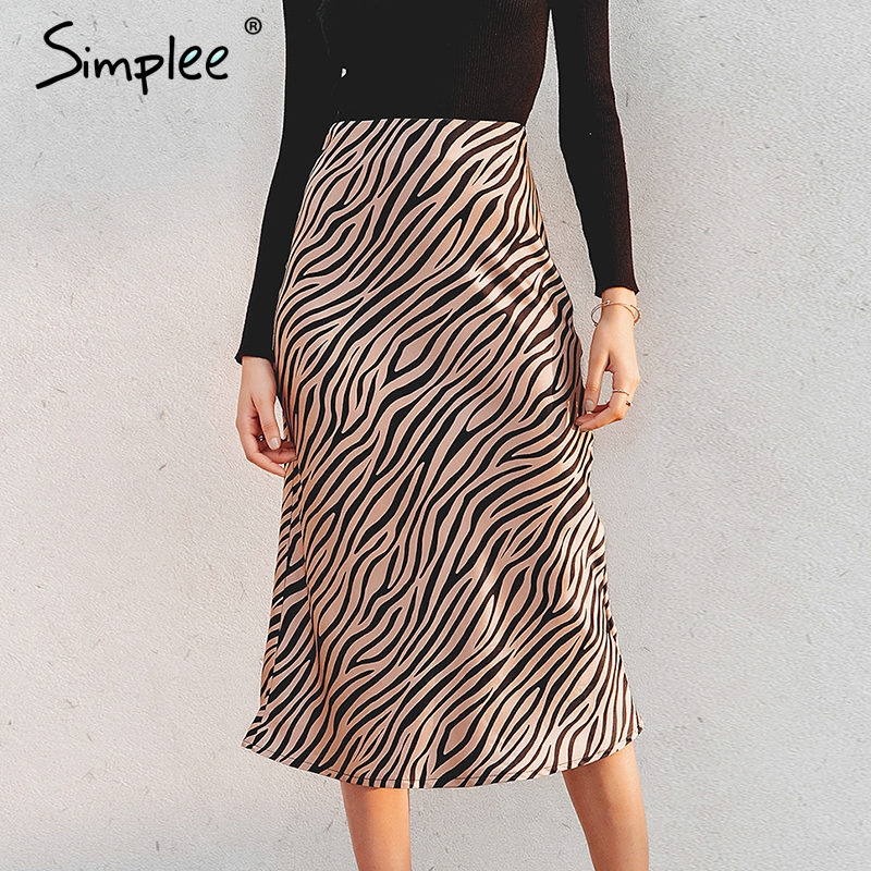 Simplee Zebra Stripe Women Midi Skirt High Waist Straight Animal Print Female Bottom Skirt Leisure Party Night Club Ladies Skirt