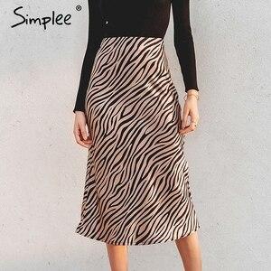 Image 1 - Simplee paski zebry damskie spódnica trzy czwarte wysokiej talii prosty nadruk zwierzęta kobiece dół spódnica wypoczynek nocna impreza klubowa spódnica damska