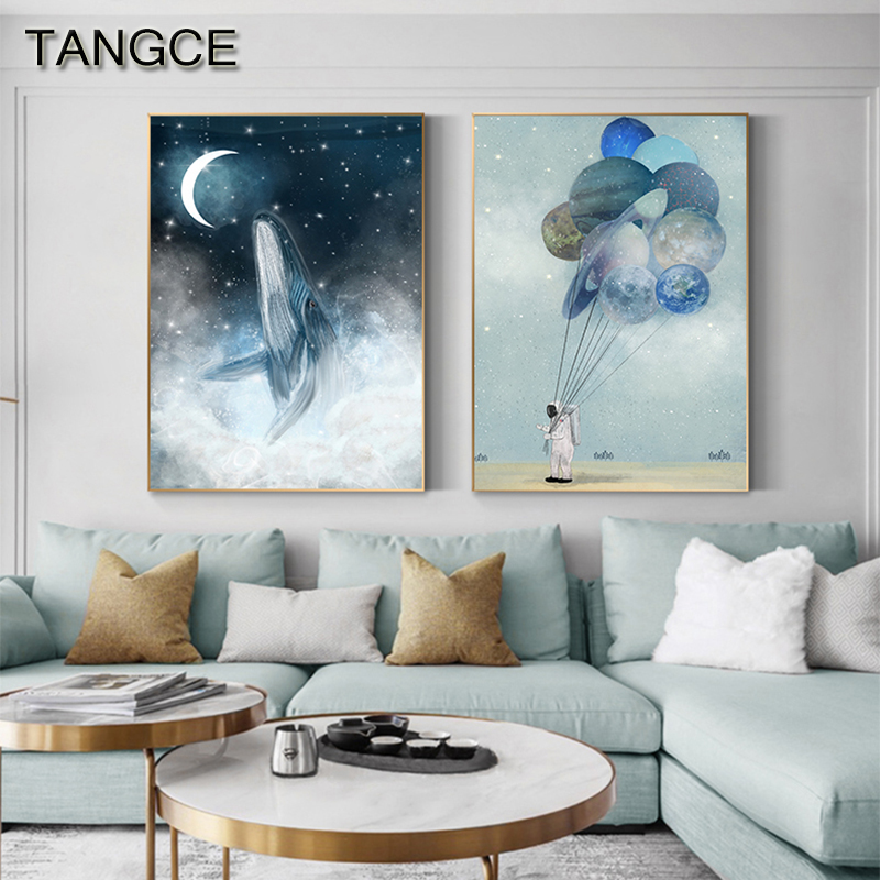 Abstract Blue Whale Canvas Painting Astronaut Planet Poster Print Nordic Wall Picture For Living Room Nordic Wall Art Tableaux