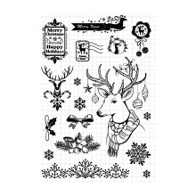 Christmas moose Transparent Clear Silicone Stamps Seal DIY scrapbooking photo album Decorative Snowflake New clear stamps sheet