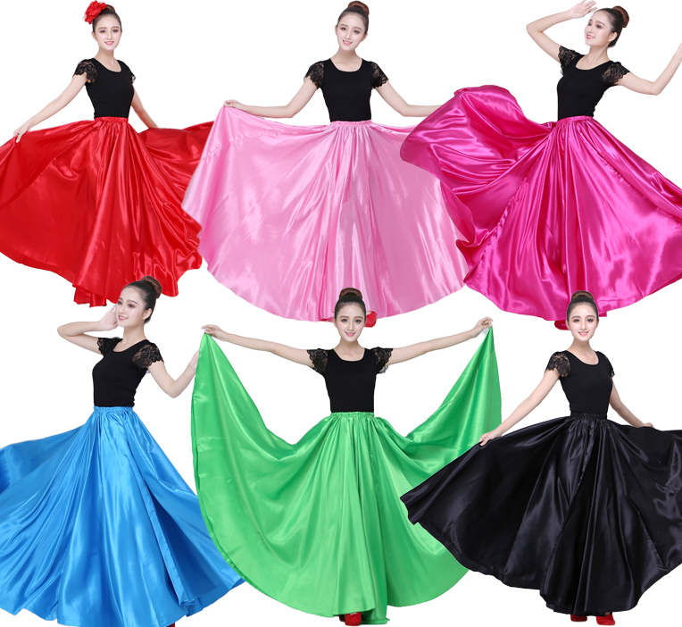 90-95cm Elastic Waist Spanish Flamenco Dance Skirt For Woman Solid Satin Smooth Belly Dance Dress Spain Traditional Costumes