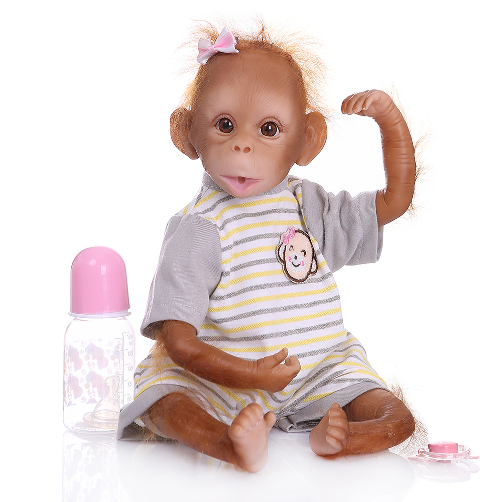 Monkey-Doll Painting Reborn Baby Handmade 16inch Lifelike with 40cm Detailed