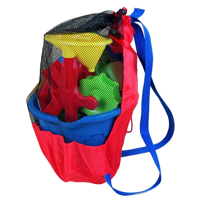 Red Portable Beach Sport Bag Storage Bags Mesh Fabric Outdoor Swimming Waterproof Bags Folding Portable Toy Eco-Friendly Baskets