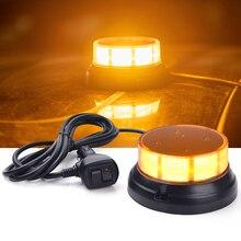 MICTUNING 3002 3.5 inç sarı Amber dikkat uyarı acil durum ışıkları manyetik taban ile 10 30V 3 modlu araç Strobe ışıkları