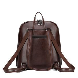 Image 5 - 3 in 1 Vintage Women Backpack High Quality Youth Leather Backpacks for Teenage Girls Female School Shoulder Bag Bagpack mochila