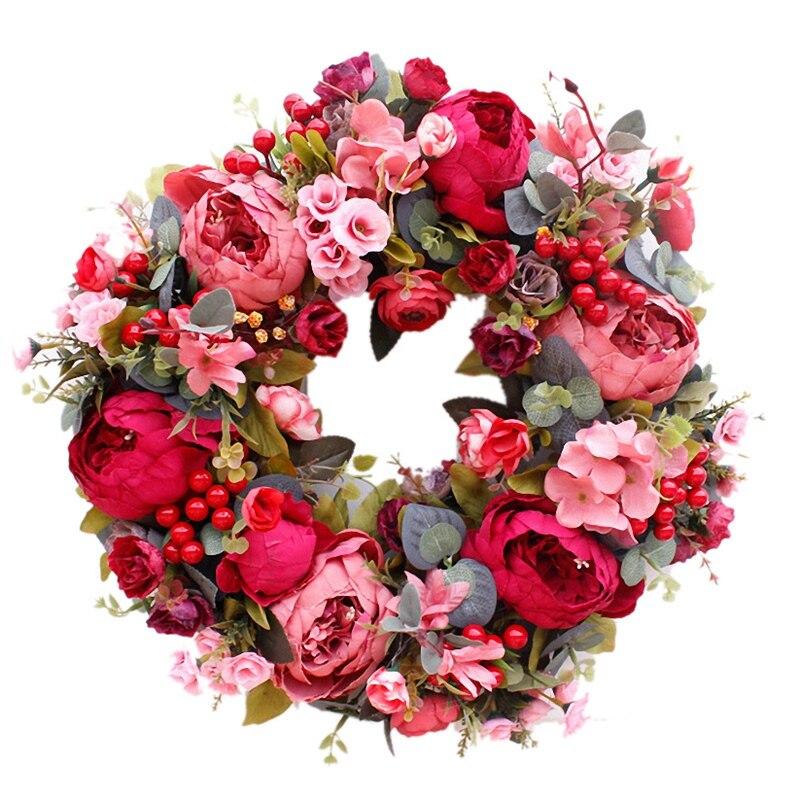 Decorative Door Wreath,Silk Flower Peony Head Flower Wreath 40cm Handmade Garland For Autumn Winter Outdoor Display Red