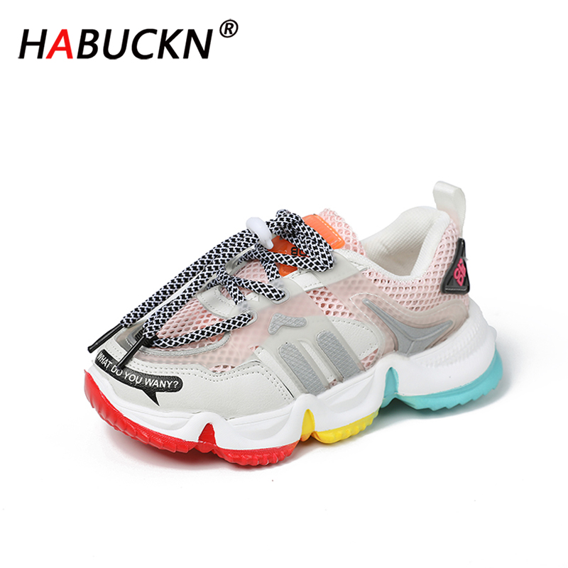 HABUCKN New 2020 Hot Summer Autumn Children's Sneakers Soft Breathable Rainbow Color Fashion Casuals Baby Boys Girls Shoes