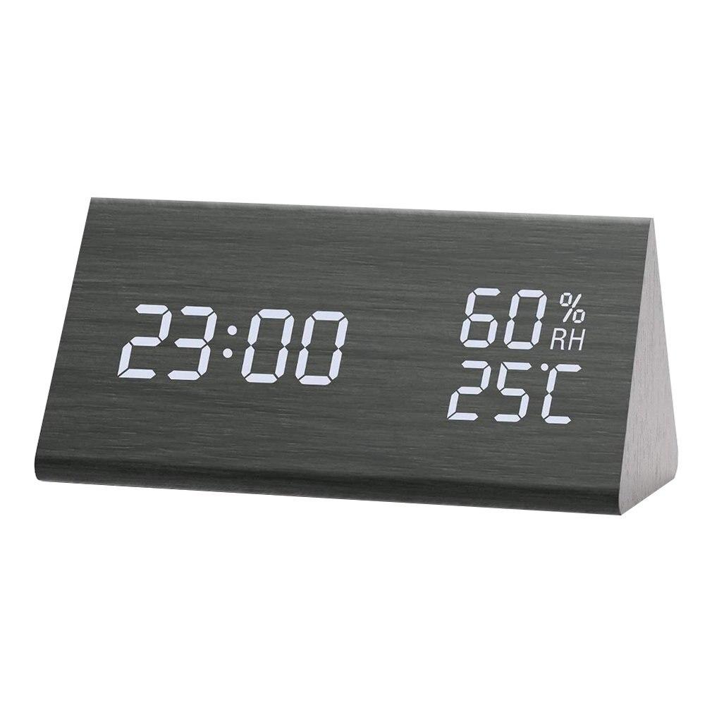 Umidade e temperatura despertador triângulo digital bebê quarto relógio de madeira mudo luminoso led eletrônico presente|Despertadores|   -