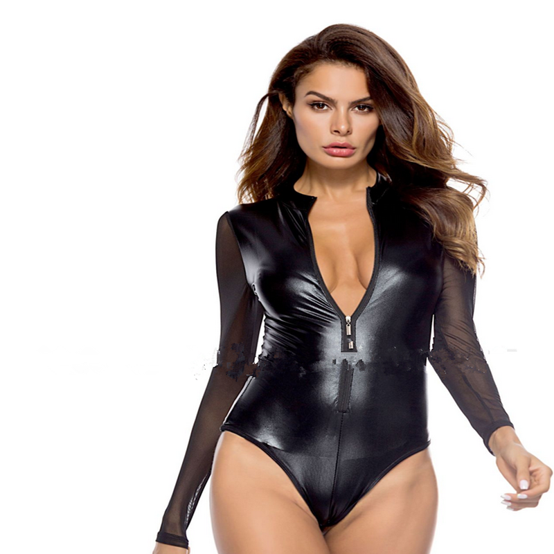Women Bodysuits Lady Erotic Sexy Leather Baby Doll Sexy Hot Pole Dance Club Sexy Clothing For Femme