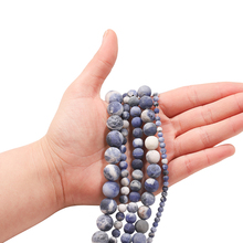 1strand Natural Frosted Gem Dull Polish Matte Old Blue Sodalite Stone Beads For Jewelry Making Round Beads Diy Bracelets