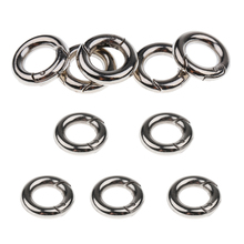 цена на 10pcs Silver Circle Round Carabiner Spring Snap Ring Buckle Clip Hook Keychain Outdoor Activities Camping Hiking Backpacking