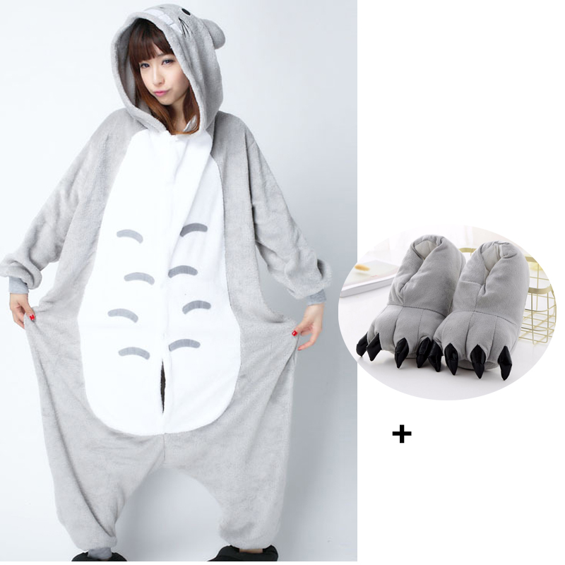 XXL Size Totoro Onesie Kigurumi For Women Adult Pajamas Men With Slipper Nightsuit Jumpsuit Pijama Cartoon For Halloween Cosplay