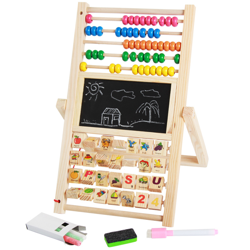Multi-functional Wood Magnetic Drawing Board Zhu Suan Jia Baby Early Childhood Educational Multi Purpose Learning Toy