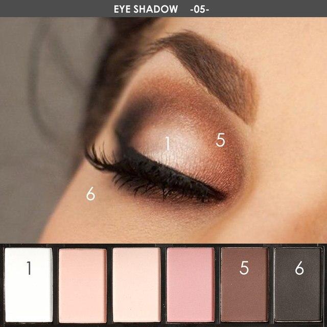 FOCALLURE 6 colors Smokey Matte Eyeshadow Palette Long lasting with Makeup Eye Shadow Brush 2