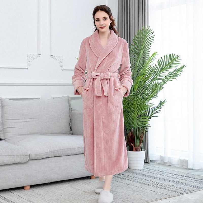 Dép Nỉ Áo Choàng Tắm Cặp Đôi Plus Dày Tắm Áo Dây Chắc Chắn Đầm Bầu Mặc Nhà Nam Nữ Đồ Ngủ