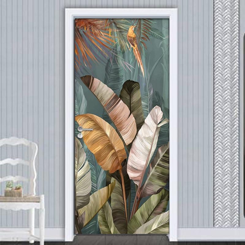 PVC Waterproof Self-adhesive Door Stickers Wall Decor Banana Leaf 3D Photo Mural Wallpaper Living Room Bedroom Decor Wall Decals
