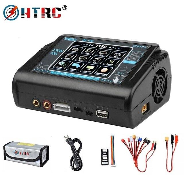 Em estoque htrc t150 carregador de bateria inteligente ac/dc 150w 10a com carga do equilíbrio da tela de toque para lipo lihv vida lilon nicd nimh pb b