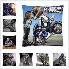 Motorcycle stunt sport cartoon pattern Soft Short Plush Cushion Cover Pillow Case for Home Sofa Car Decor Pillowcase 45X45cm