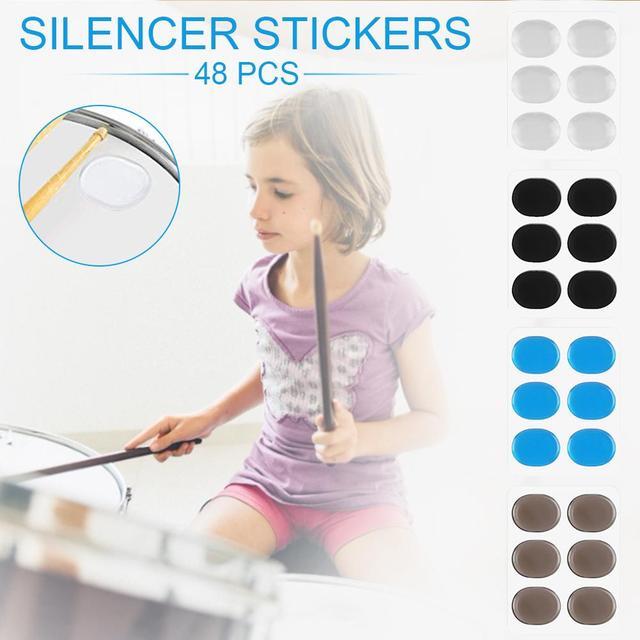 silenciadores de tambor de silicona 48 piezas amortiguador de tambor almohadillas autoadhesivas electr/ónicas almohadillas de gel amortiguadores de tambor transparentes