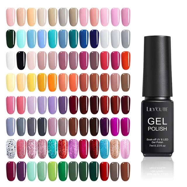 LILYCUTE Candy 7ml Nail Polish Semi Permanent Pure Nail Color Gel