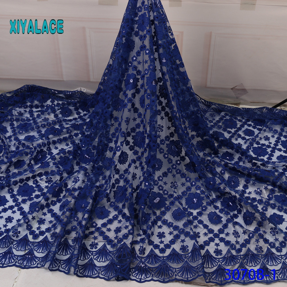 2019 High Quality Beaded African Lace Fabric Nigerian Lace Fabric Embroidery French Tulle Lace With Sequins For Bridal YA3070B-1