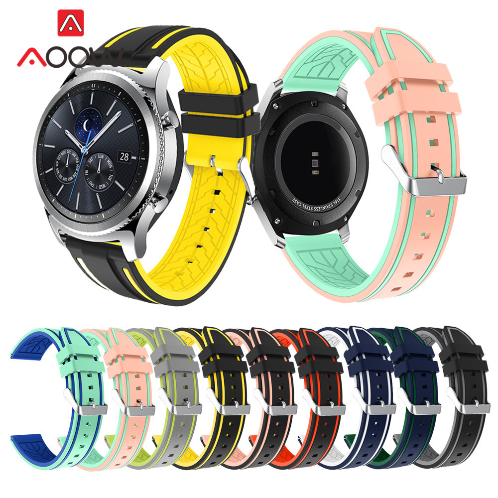 22mm Double Color Silicone Watchband For Samsung Galaxy 46mm Gear S3 Soft Sport Replacement Strap Bracelet Band For Huawei Watch