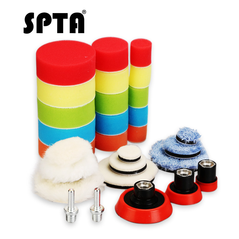 SPTA 29pcs 1 2 3 Inch Car Waxing Sponge Polishing Pad Woolen Wheel Backing Plate Car Polisher Tool For Auto DA RO Polish Machine