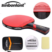 Tennis table racket long handle short handle carbon blade rubber with double face pimples in ping pong rackets with case(China)