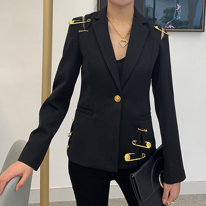 Fall Winter New Fashion 2019 Runway Women's Hollow Out Mesh Spliced Jackets Full Sleeve Buttons Pin Black Blazer Outerwear