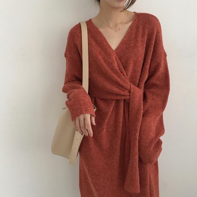 Heeb4163e511c4095bc7892bacf0e8315E - Winter Korean V-Neck Long Sleeves Knitted Dress