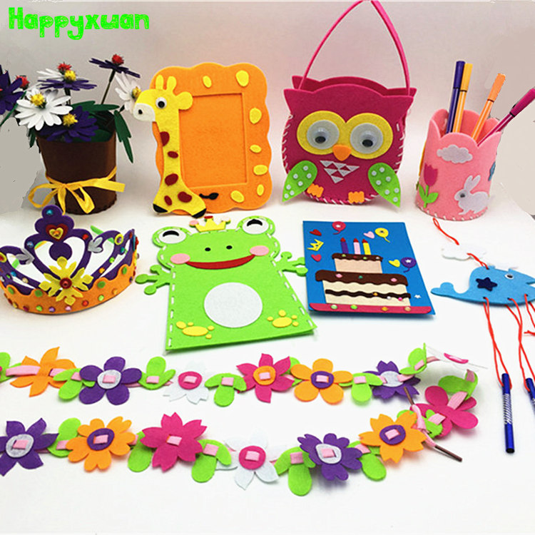 Happyxuan 9 Designs Kids DIY Craft Kits Felt Handicraft Preschool Kindergarten Creative Educational Sewing Toy Set Girl Children