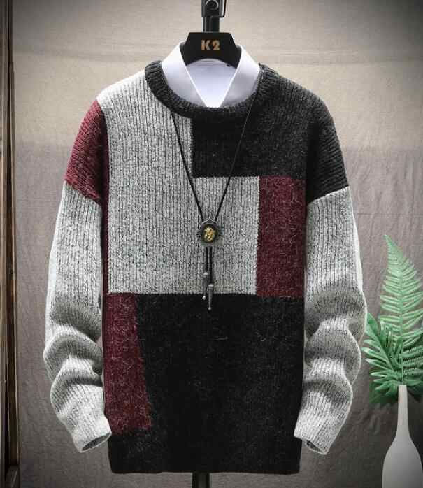 2020 Dolcevita di Cachemire degli uomini di Inverno Maglione Pullover Patchwork Slim Fit Knittwear Mens Caldo di Spessore Maglie e Maglioni