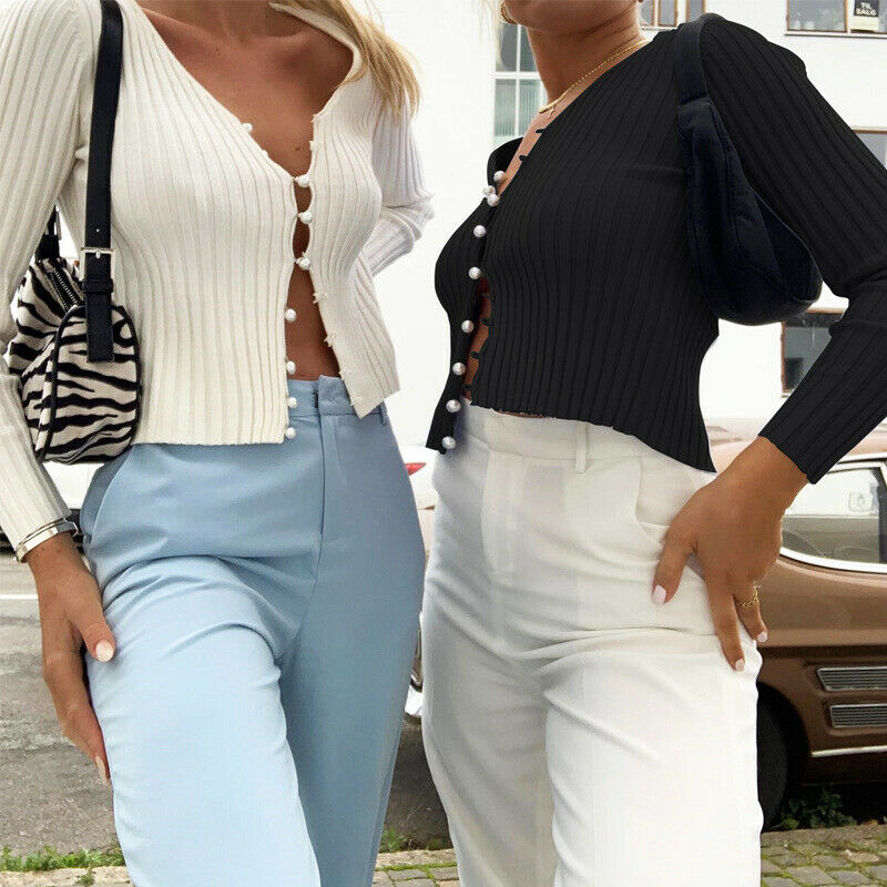 New Women Sexy Shirts Long Sleeve Slim Fit Cropped Knit Shirt Blouses Pearl Button Cardigan Casual Top Blouses