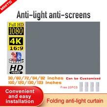 Mixito projetor simples cortina 16:9 anti-luz de tela 30 72 84 92 100 106 120 130 133 polegadas casa ao ar livre escritório portátil 3d hd