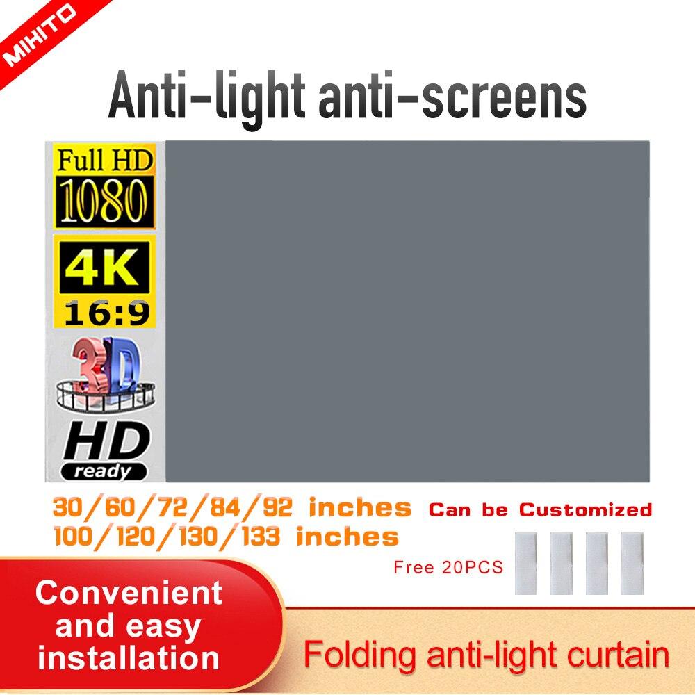 MIXITO проектор простой занавес 16:9 анти-светильник экран 72 84 100 120 дюймов домашний уличный офис портативный 3d HD проектор экран