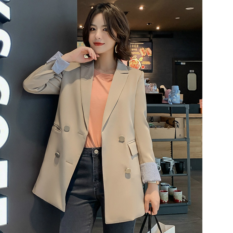 Suit Jacket Female Autumn Women's High-Quality Long-Sleeved Double-Breasted New Solid