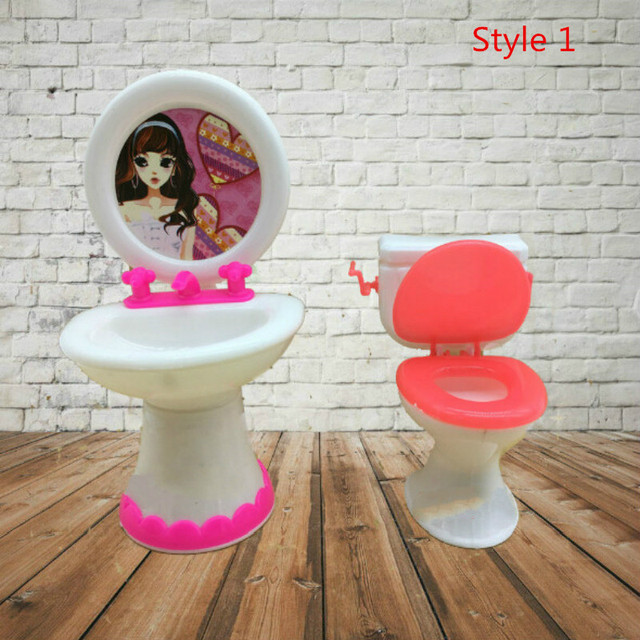 Doll House Dollhouse Furniture Bathroom Set Toilet and Sink Pretend Play Classic Toys Furniture Toys Best Gift for Kids Girl