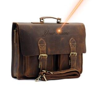 Высококачественный Мужской винтажный портфель из натуральной кожи Crazy Horse, сумка-мессенджер на плечо, сумка для ноутбука, Офисная сумка 1061