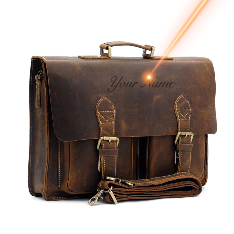 Top Grade Male Men's Vintage Real Crazy Horse Leather Briefcase Messenger Shoulder Portfolio Laptop Bag Case Office Handbag 1061