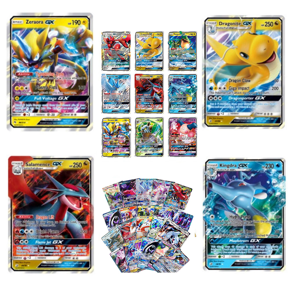 300 Pcs TAKARA TOMY No Repeat Pokemon Card GX  Shining Game Battle Carte Trading Children Toy