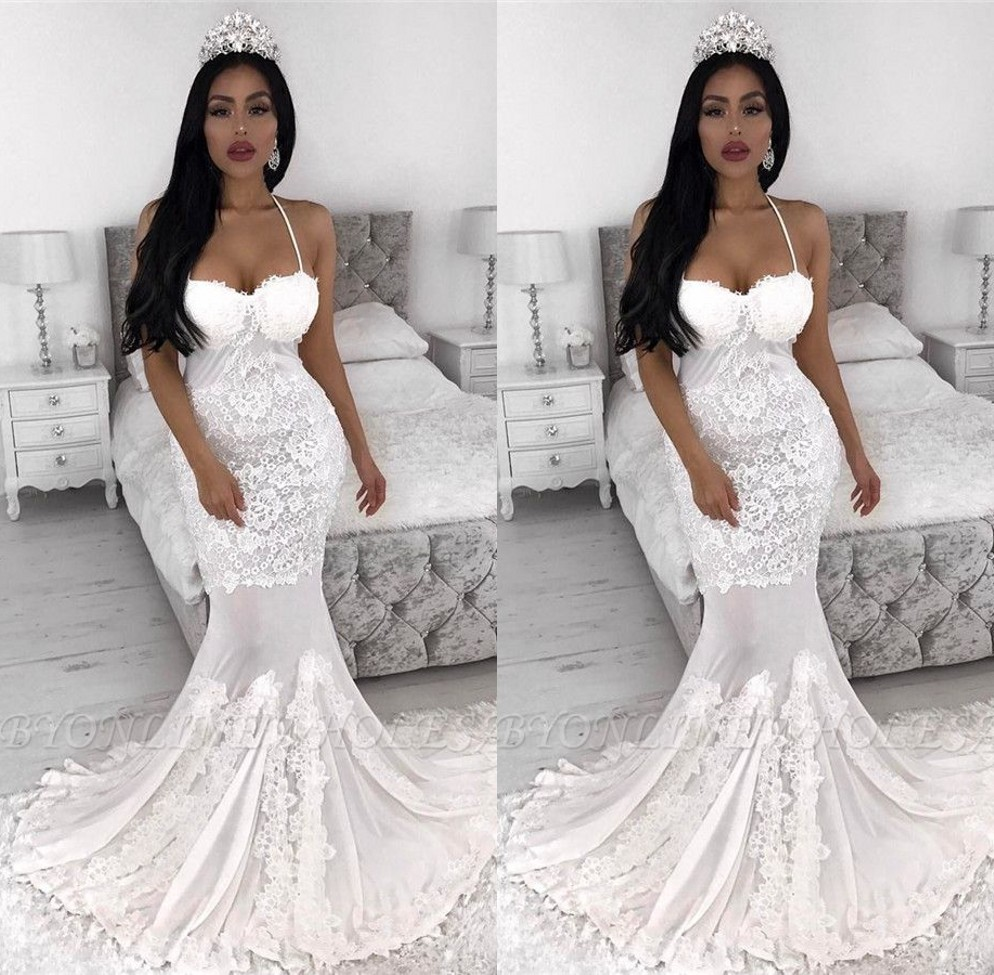Robe De Mariee White Ivory Mermaid Wedding Dresses 2020 Lace Appliqued Bride Gown Sexy Halter Backless Bridal Wedding Dresses