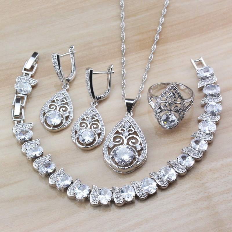Jewelry-Sets Wedding-Accessories Crystal Bridal Water-Drop 925-Sterling-Silver White