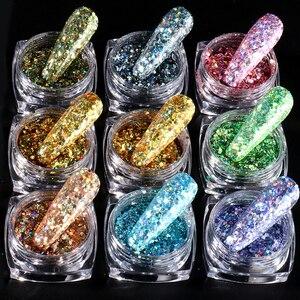 0.5g Mermaind Nail Glitter Flakes Mix Round/Hexagon Sequins Nail Art Decoration Dazzling Powder Pigment Polish Manicure BEAS1-12
