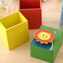Korean-Style Creative School Office Stationery Wooden Cute Painted Animal Pen Holder with Note Clip