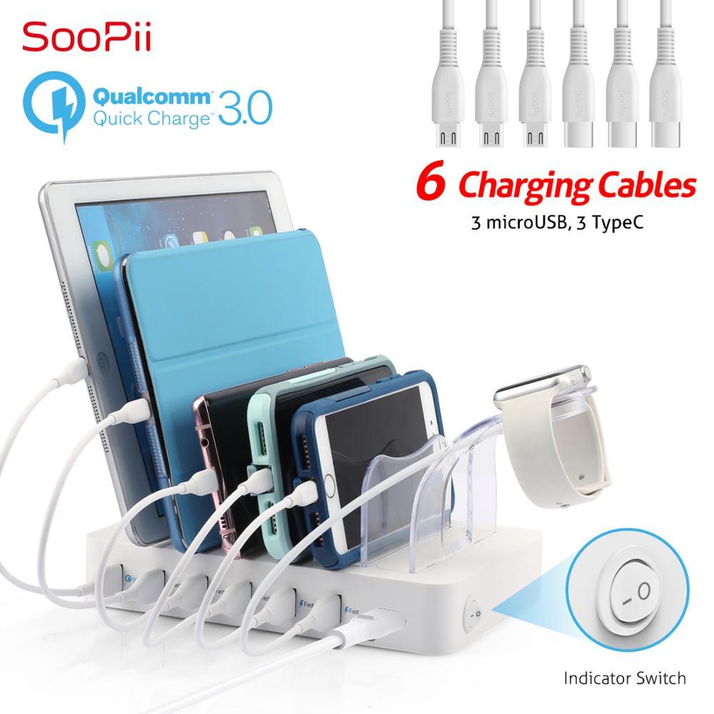 Soopii Charge rapide 3.0 60 W/12A Station de recharge USB 6 ports pour plusieurs appareils, Station d'accueil avec 6 câbles inclus