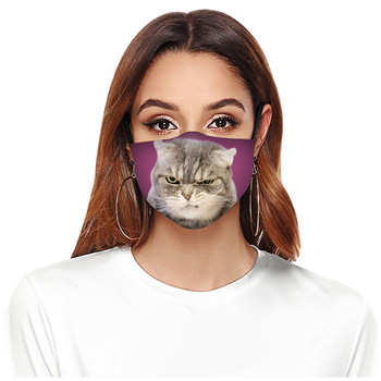 1PC Adult Mask Fashionable Reuseable Flash Mask Breathable Outdoor Protection Antidust Mouth Funny Cute Cat Décoration Printed image