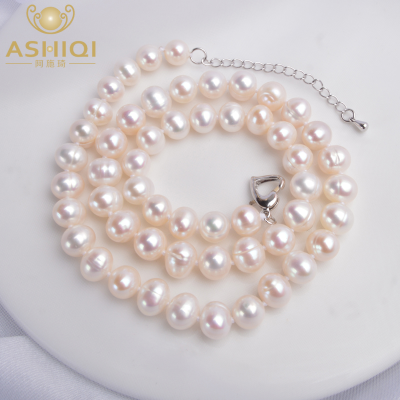 ASHIQI Real Natural Freshwater Pearl choker Necklace White Near Round Pearl Jewelry Gifts for Women(China)