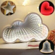Creative 3D Christmas Stars LOVE Cloud Heart Pineapples Tunnel Lamps Cute Novelty  Fairy Lamp For Kids Baby Night Light Decor