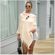 Women's sweater Cape spring 2020 autumn winter knitting tassel Cape button half open collar solid color sweater Pullover